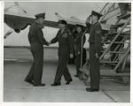 Photograph of Field Marshal Viscount Montgomery of Alamein being greeted by BG Hodes at Sherman...